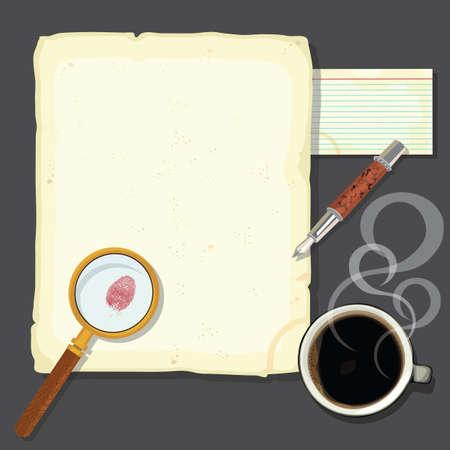 Detectives de homicidio de misterio mesa con café humeante Grande para un partido misterio del asesinato o de un partido del delito novela. Antiguo papel manchado y tarjeta con huella digital sangrienta, lupa, pluma estilográfica y una humeante taza de café sobre un escritorio de acero
