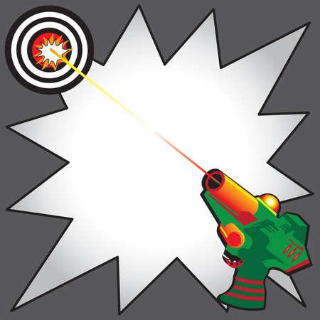 bullseye: Laser Tag Party-Einladung mit bunten Strahlen Laserkanone einen Laserstrahl auf einen Volltreffer Ziel. Comic-Buch inspiriert Starburst, um Ihre Informationen zu schreiben Illustration