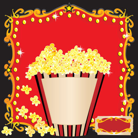 Popcorn and a Movie Birthday Party Invitation  Vector