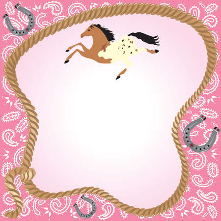 Cowgirl Party Invitation. Pink bandana background with lasso frame with room for your party information. Pretty galloping horse and horseshoes.