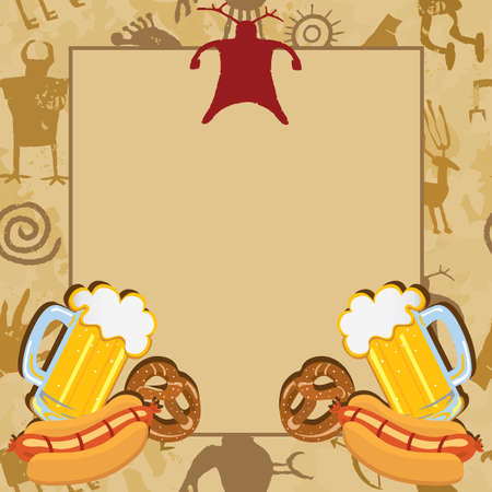 Man Cave Bachelor Party Invitation Card with cave drawings beer, pretzels and hotdogs Vector