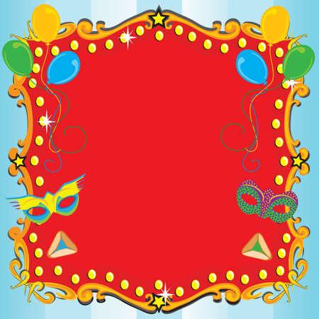 Purim Fiesta de Carnaval del cartel de la invitación con carpa roja, globos, máscaras y Orejas de Hamán