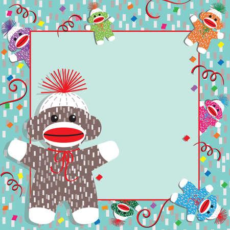 Adorable baby socks monkeys gather around this festive baby shower or birthday party invitation. Plenty of room for your information  Illustration