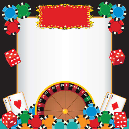 casinos: Casino Night Party Event Invitation with Roulette wheel, gambling chips, playing cards and dice with a red marquee to highlight your event  Illustration