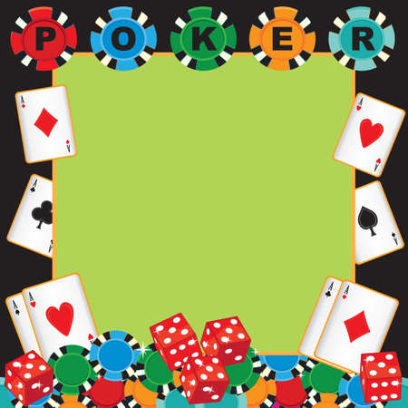Poker party gambling invitation with poker chips, playing cards and dice.