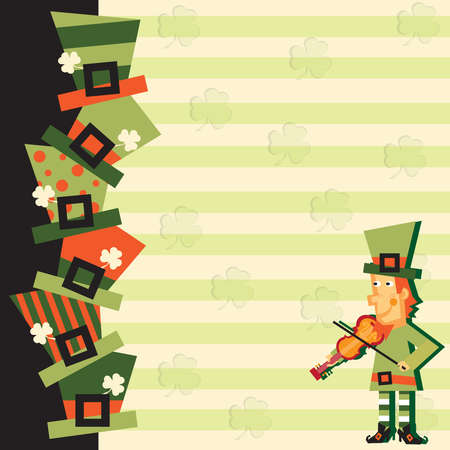 St  Patrick s day party invitation with fiddling leprechaun Vector
