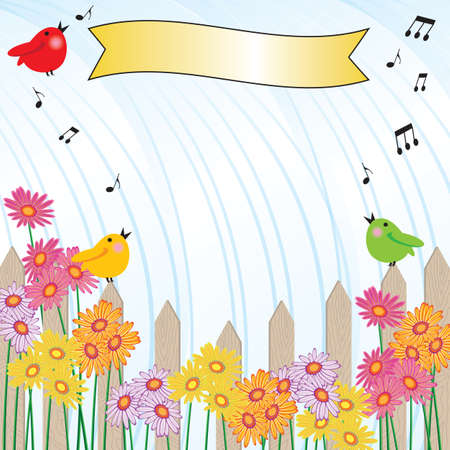 Singing in the Rain shower invitation   Picket fence and brightly colored flowers with rain pouring down in the background and singing birds  Great for a garden party or baby shower Vector