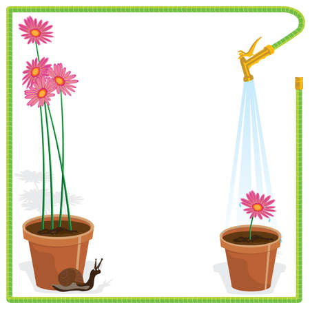 watering pot: Garden Party Invitation Cute little snail and flower pots with pink daisies and a watering hose makes a frame for this elegant yet fun garden party invitation  Great for a Bridal Shower or luncheon   Illustration