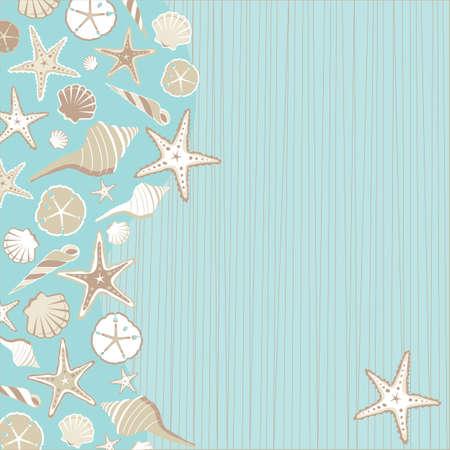 boda en la playa: Seashell Beach invitaci�n de la fiesta con una gran variedad de conchas sobre un fondo verde azulado acu�tico estr�a con una playa de caprichoso o ambiente tropical y un mont�n de espacio para la informaci�n de su partido Vectores