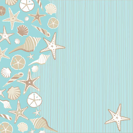 wedding beach: Seashell Beach party invitation  with a variety of shells on an aqua teal stria background with a whimsical beach or tropical feel and plenty of room for your party info Illustration