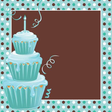 inbjudan: Staplade Cupcakes 1st födelsedagsfest med polkadots Illustration