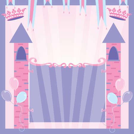 Princess Birthday Party Invitation Castle Vectores