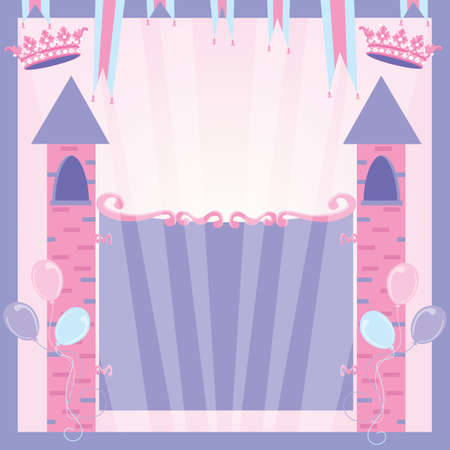 princess castle: Princess Birthday Party Invitation Castle Illustration