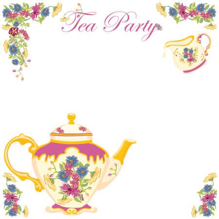 Victorian Tea Pot Tea Party Invitation 版權商用圖片 - 12482413