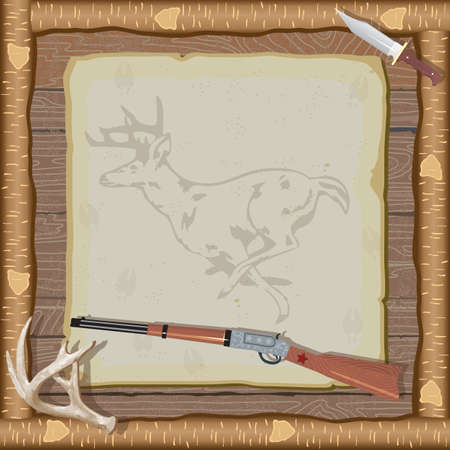 Rustic hunting party invitation with rifle, hunting knife, deer antlers and a faded deer illustration on old vintage paper with animal tracks set against a wood paneled background and log frame.
