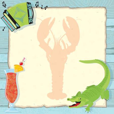 Diversi�n langosta Cajun hervir invitaci�n de la fiesta con acorde�n, el cocodrilo, c�ctel de hurac�n y una silueta de langosta en el papel de �poca y un degradado de fondo de madera azul. Vectores