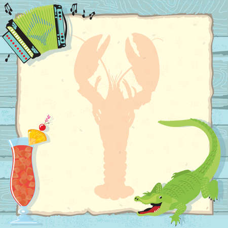 Fun Cajun lobster boil party invitation with accordion, alligator, hurricane cocktail and a lobster silhouette on vintage paper and a weathered blue wood background.   Vector