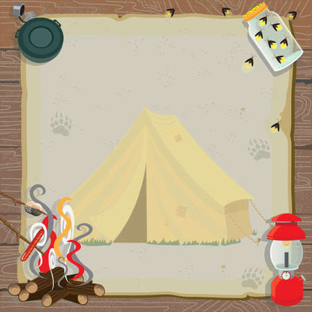 Rustic camping party invitation with an old fashioned tent, lantern, canteen, jar of fireflies and a roaring fire for roasting marshmallows and hotdogs all on old vintage paper with animal tracks set against a wood paneled background