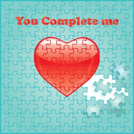 You complete me Jigsaw puzzle pieces make up the words 'You complete me' on a pretty aqua background.  Vector