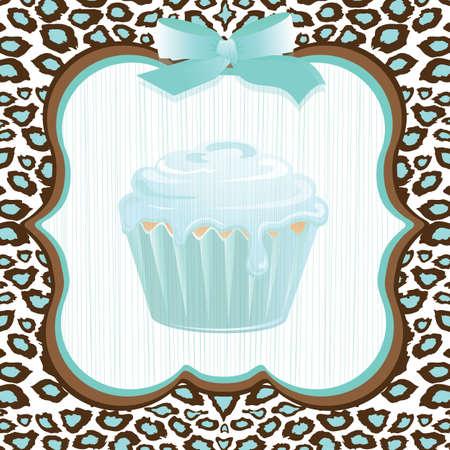 Aqua leopard print cupcake birthday party invitation
