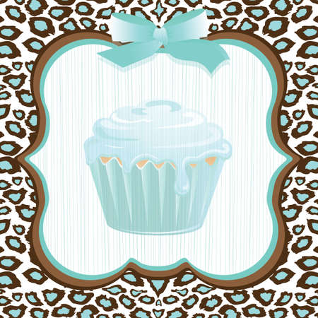 cupcake illustration: Aqua leopard print cupcake birthday party invitation