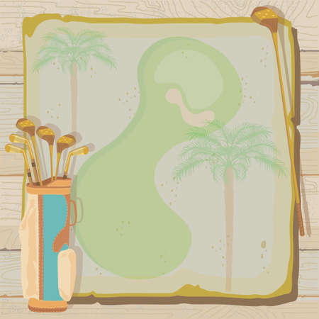 Tropical golf party or tournament invitation with a vintage aged feel  Golf bags with golf clubs on grungy vintage paper with faded palm trees, set against a weathered wood background
