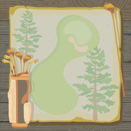 torneio: Rustic golf party or tournament invitation with a vintage aged feel  Golf bags with golf clubs on grungy vintage paper with faded pine trees, set against a wood background  Ilustração