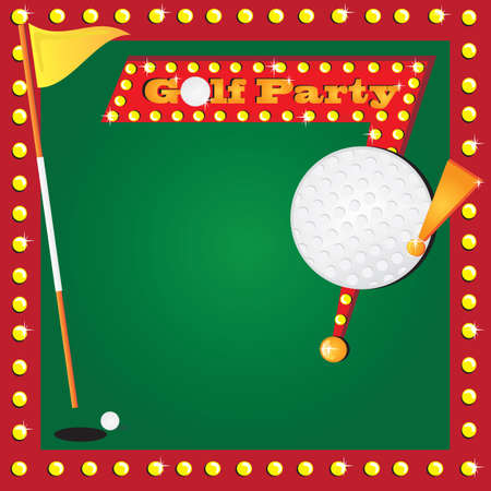 Super fun golf or miniature golf party invitation with glowing lights and a retro golf party sign with a huge detailed golf ball for your party info  Cute flag for the age of your child