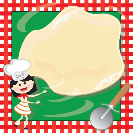 pizza dough: Pizza Making Birthday Party Invitation Card Illustration