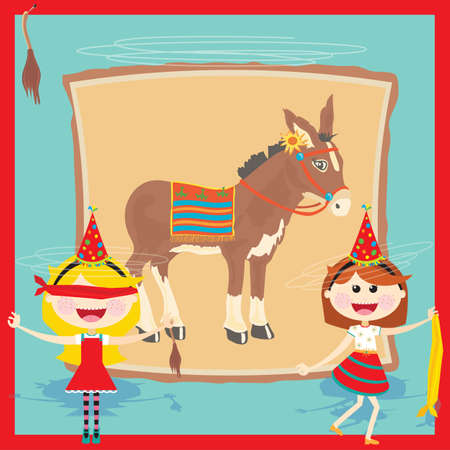 Get back to basics with this super cute Pin the tail on the donkey birthday party invitation
