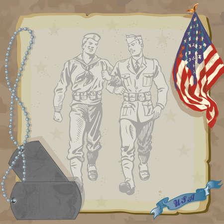 ウェルカム ホーム ヒーロー軍事パーティの招待状は緩くアメリカの国旗、犬のタグや迷彩の背景を持つ汚れた古い紙に対してビンテージ軍人を描画