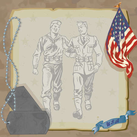 Welcome Home Hero Military Party Invitation  Loosely drawn American Flag, dog tags, and vintage military men against grungy old paper with a camouflage background   Vector
