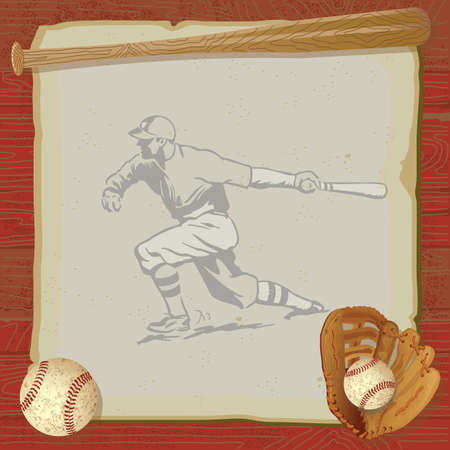Rustic, vintage baseball party with old fashioned baseball, glove and bat on top of grungy vintage paper with a red woodgrain background