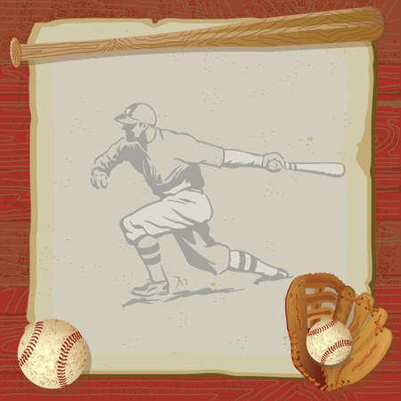 Rustique, partie de baseball millésime à l'ancienne base-ball, gant de jeu et chauve-souris au-dessus de papier vintage grungy avec un fond rouge similibois Vecteurs