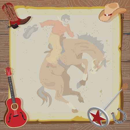 cowboy on horse: Rustic Western Party Invitation with cowboy boot, hat, guitar, branding iron and horseshoe surround vintage paper with a faded bucking bronco, set against a wood background