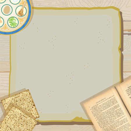 santa cena: Celebrar la Pascua con esta invitaci�n bastante r�stico y la Pascua Seder partido de comidas, con placa de Seder, el libro sagrado, la Hagad� de Pesaj y el matzo o matz� en papel de �poca en contra de un fondo de madera desgastada.