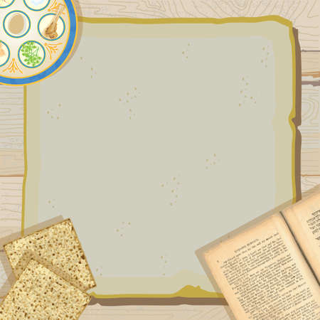 Celebrate Passover with this Rustic and pretty Passover Seder Meal party invitation with seder plate, holy book, the passover Haggadah and matzo or matzah on vintage paper against a weathered wood background.  Vector
