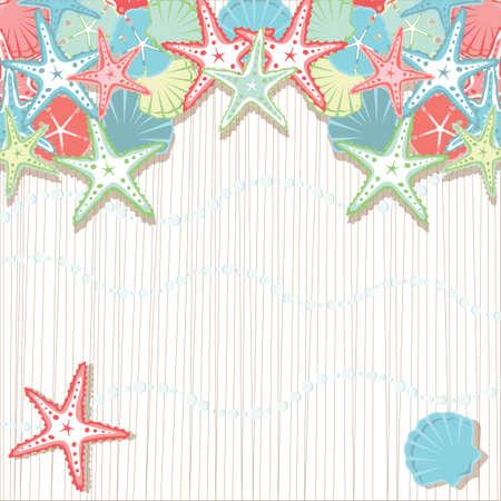 Seashell Beach Zaproszenia partyjnych. Miękkie kolorowe muszle w odcieniach koralu i Aqua przeciwko teksturą tła i bąbelków morskiej piany. Ilustracje wektorowe