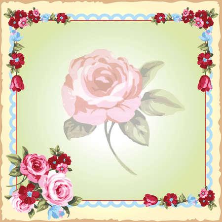faux: Bella d'epoca vittoriana invito di nozze floreale stampato su un fazzoletto indossato faux. Boarder bel fiore e una rosa appassita centro su uno sfondo verde chiaro e giallo.