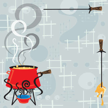 Retro fondue party invitation with a cool and modern feel. Bubbling and steaming pot of cheesy fondue and a skewer with a bread cube and dripping cheese against a retro background. 版權商用圖片 - 12822351