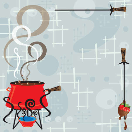 fondue: Retro fondue party invitation with a cool and modern feel. Bubbling and steaming pot of chocolate fondue and a skewer with a bread cube and dripping chocolate against a retro background.