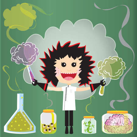 Mad Scientist Birthday Party Invitations.  Puffs of smoke and fumes leak from test tubes, beake Illustration