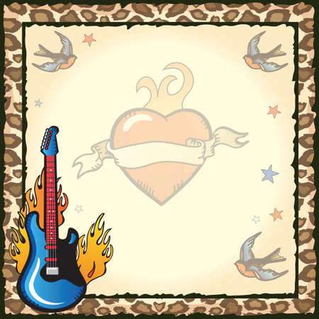 Pretty and Edgy rock star party invitation with old school sailor tattoos of blue birds, stars, flaming heart and flaming guitar against grungy vintage paper against a leopard print back ground. Vector