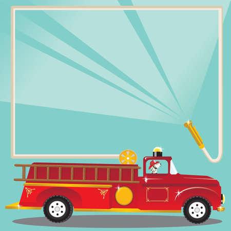 Invitation fête d'anniversaire de Firetruck. Super cute firetruck avec un pompier dalmatien avec un casque et une lance à incendie explosions d'eau pour vous souhaiter la bienvenue à une fête d'anniversaire Vecteurs