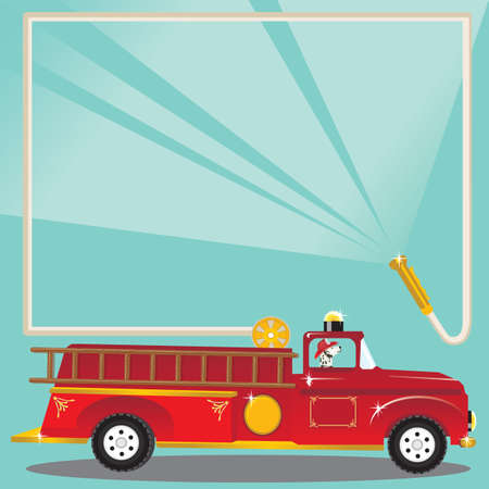Firetruck Birthday Party Invitation. Super cute firetruck with dalmatian fireman with helmet and a fire hose blasts water to welcome you to a birthday party