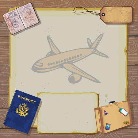 Rústico viaje época Bon invitación de la fiesta con el pasaporte, los sellos a los destinos, el equipaje y la etiqueta en el papel de época antigua con el mapa de mundo y el avión sobre un fondo vetas de la madera