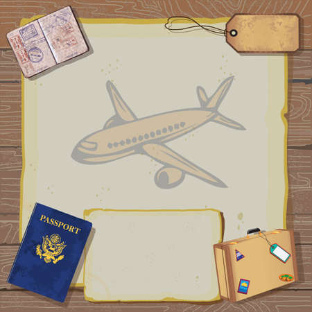 passport background:  Rustic vintage Bon Voyage Party Invitation with passport, stamps to destinations, luggage and tag on old vintage paper with globe map and airplane set against a woodgrain background