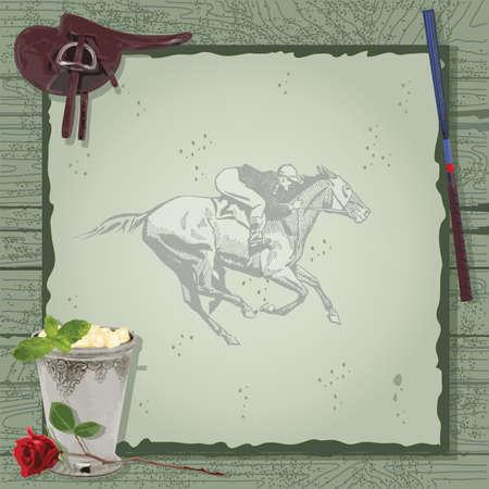 cavallo in corsa: Ippica invito a una festa. Ottimo per il Kentucky Derby o qualsiasi altro evento a tema cavallo. Vettoriali