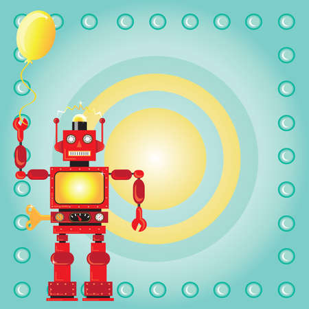 space: Robot Birthday Party Invitation with red wind-up robot holding a party balloon on a bullseye background Illustration
