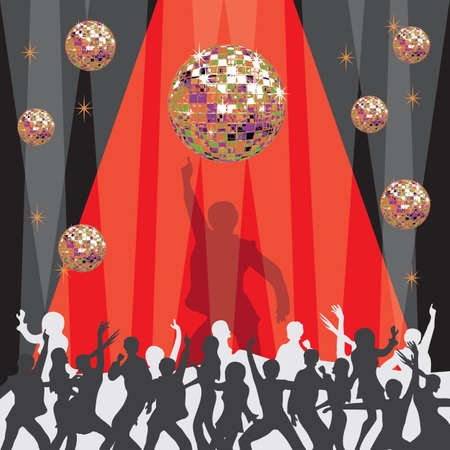 themed: 1970 s disco party invitation with mirrored ball and dancers Illustration